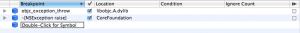 Results of adding Breakpoints to XCode
