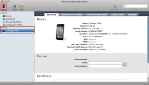 iPhone Configuration Utility - Device